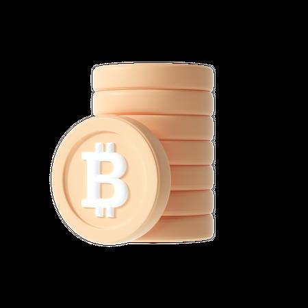 Bitcoin stack 3D Illustration