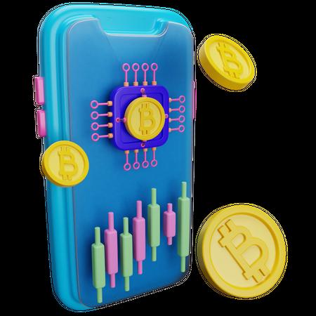 Bitcoin Trading 3D Illustration