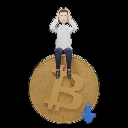Bitcoin Value Down 3D Illustration