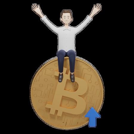 Bitcoin Value Up 3D Illustration