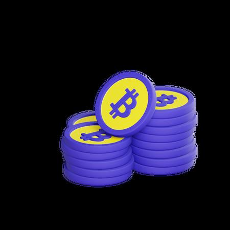 Bitcoins 3D Illustration