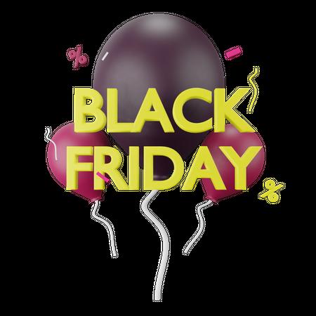 Black Friday Balloons 3D Illustration