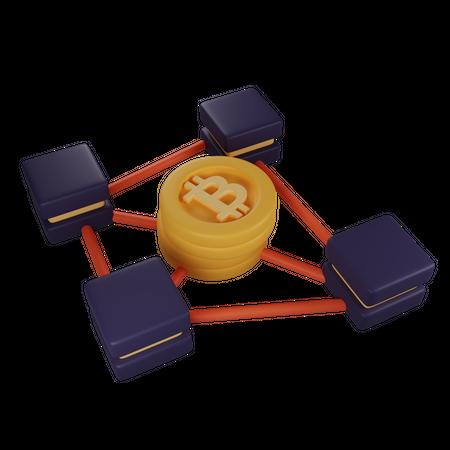 Blockchain Connection 3D Illustration