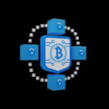 Blockchain Security 3D Illustration