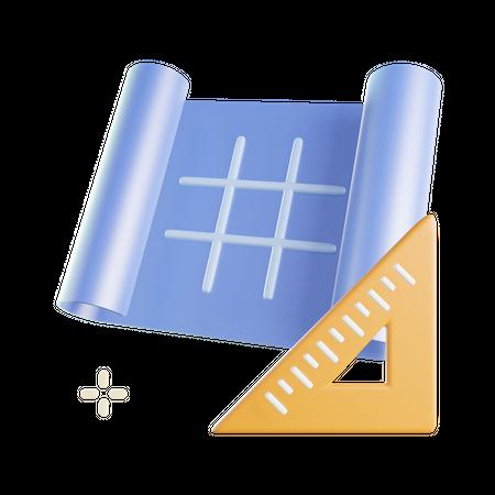 Blueprint 3D Illustration