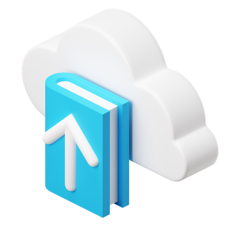 Book available on cloud storage 3D Illustration