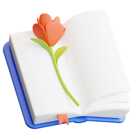 Book with rose 3D Illustration