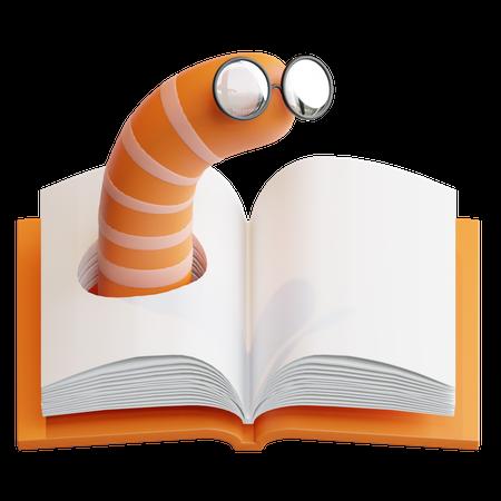 Book Worm 3D Illustration