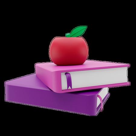 Books And Apple 3D Illustration