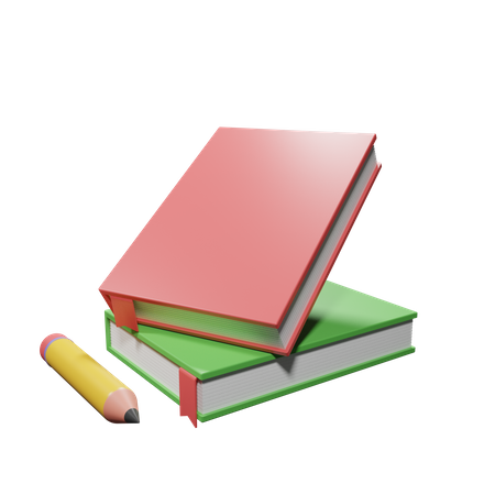 Books And Pencil 3D Illustration