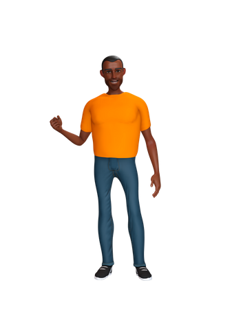 Boy asking for lift 3D Illustration