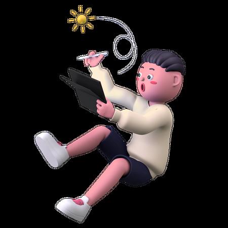 Boy Drawing on Tablet 3D Illustration