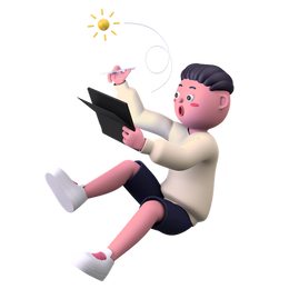 Boy Drawing on Tablet