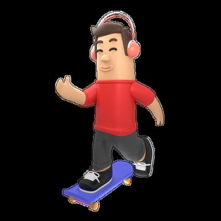 Boy riding skateboard while listening music 3D Illustration