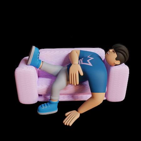 Boy sleeping on sofa 3D Illustration
