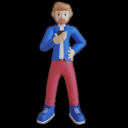 Boy using mobile 3D Illustration