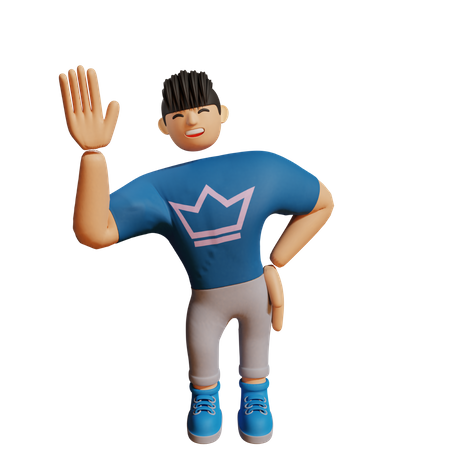 Boy waiving his hand 3D Illustration