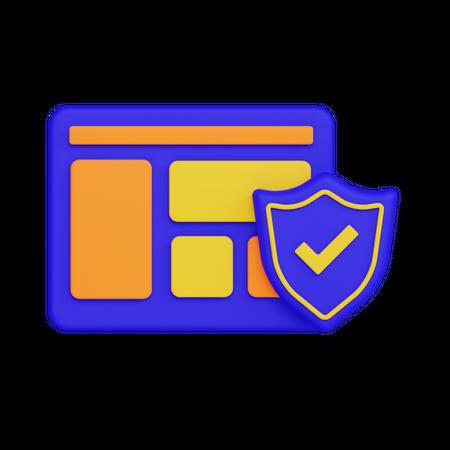 Browser Security 3D Illustration