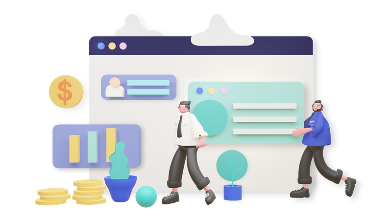 Business development 3D Illustration