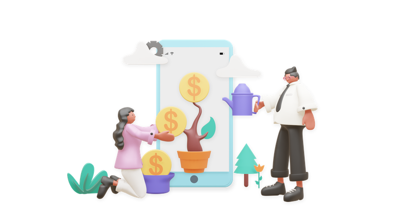 Business Growth 3D Illustration