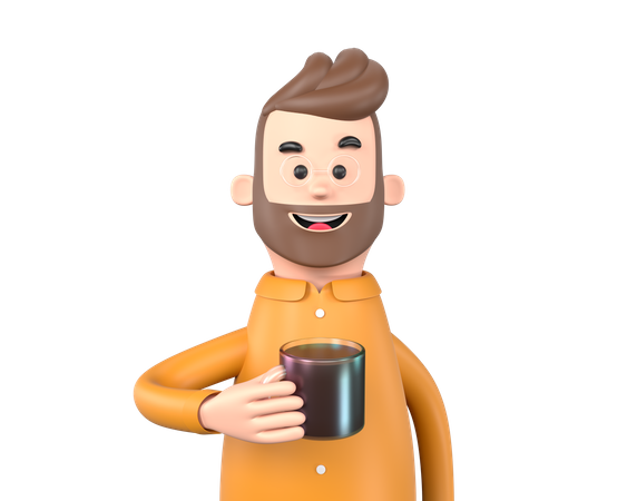 Business man holding cup 3D Illustration