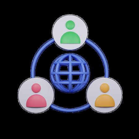 Business Network 3D Illustration