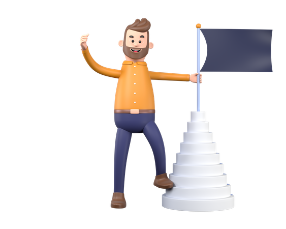 Business person achieving milestone 3D Illustration