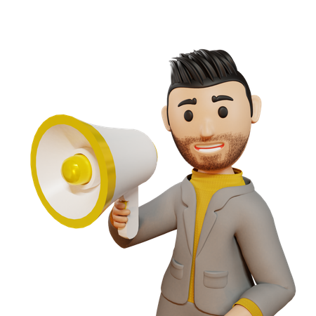 Business person advertising product 3D Illustration