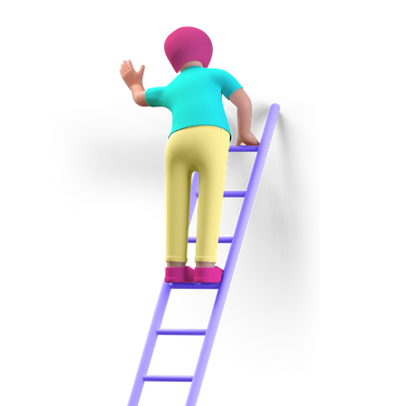 Business person climbing success stairs 3D Illustration