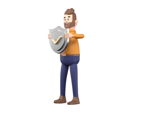Business person holding security shield 3D Illustration