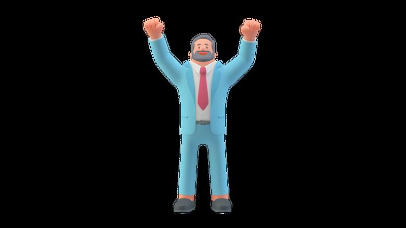 Business person raising both hands 3D Illustration