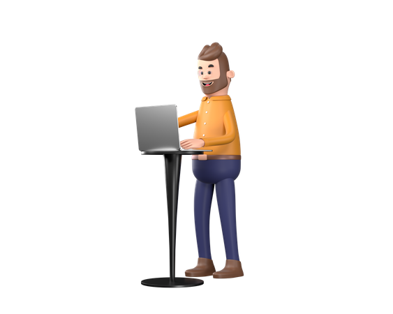 Business person working on laptop 3D Illustration