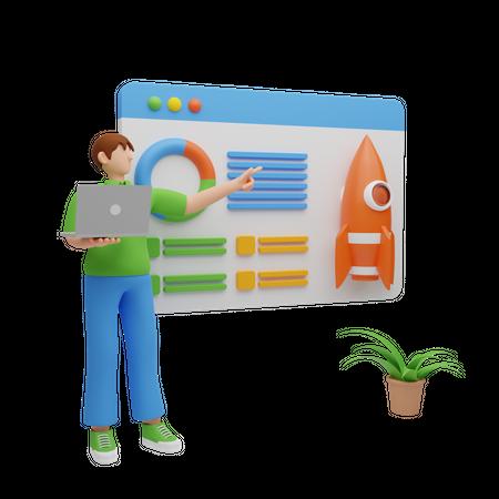 Business startup analysis 3D Illustration