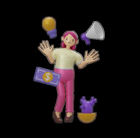 Business woman 3D Illustration