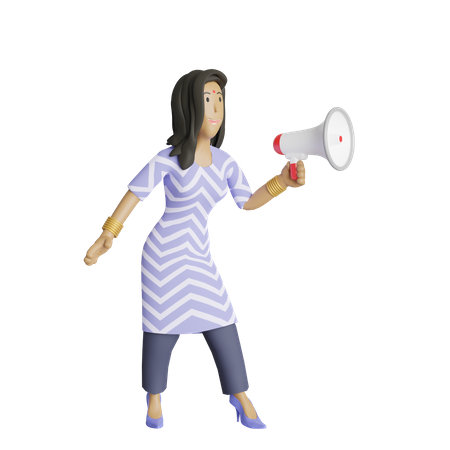 Business woman making announcement 3D Illustration