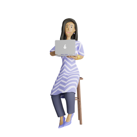 Business woman working on laptop 3D Illustration