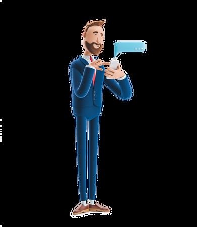 Businessman Chatting on Mobile 3D Illustration