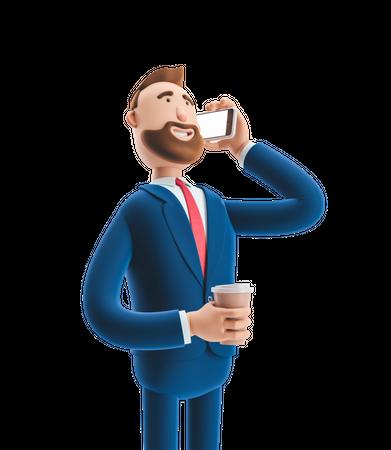 Businessman commutating during office break time 3D Illustration