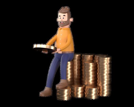Businessman counting profit 3D Illustration
