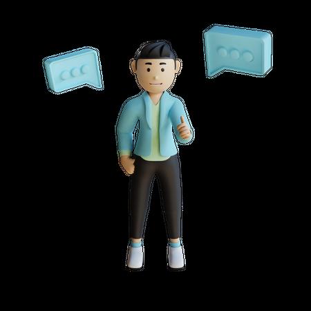 Businessman Doing Discussion 3D Illustration