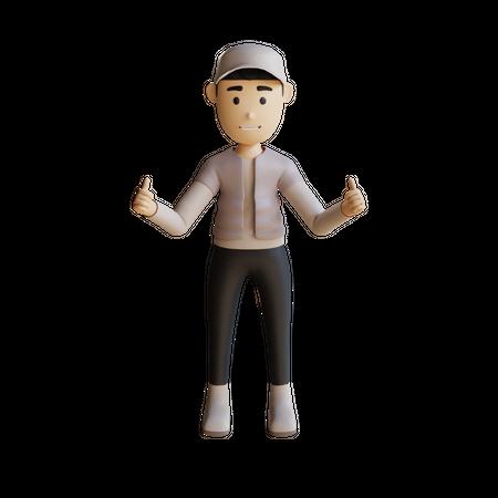 Businessman Giving Like 3D Illustration