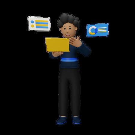 Businessman Giving Presentation 3D Illustration