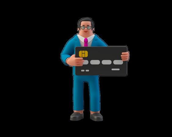 Businessman hold credit card in hand 3D Illustration
