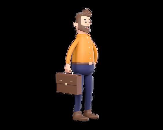 Businessman holding briefcase 3D Illustration