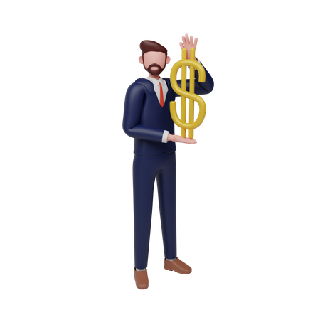 Businessman holding dollar 3D Illustration