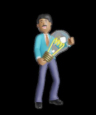 Businessman holding light bulb - Business idea concept 3D Illustration