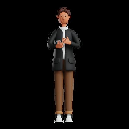 Businessman holding mobile 3D Illustration