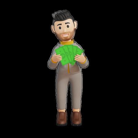 Businessman holding money in hand 3D Illustration