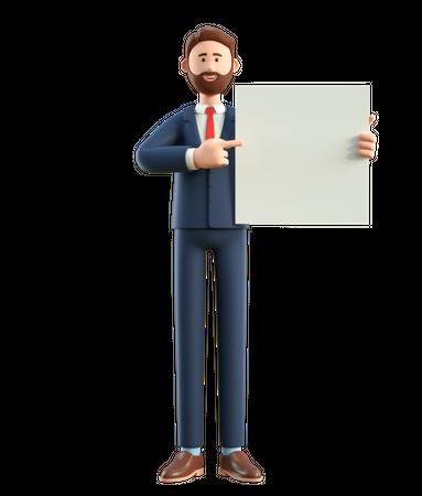 Businessman holding white blank board 3D Illustration