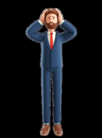 Businessman in panic 3D Illustration